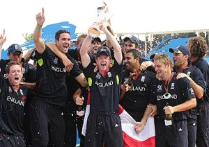 England celebrate their World Twenty20 title after beating Australia by seven wickets, England v Australia, ICC World Twenty20 final, Barbados, May 16, 2010