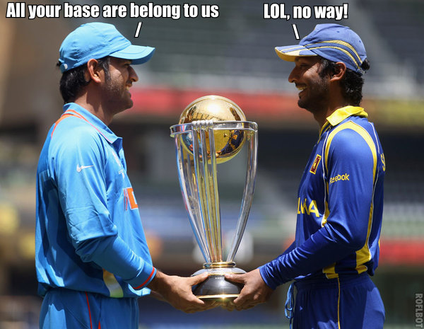 Mahindra Dhoni and Kumar Sangakkara with the 2011 Cricket World Cup Trophy